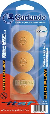 Set of 3 Garlando ITSF Speed Pro Play Competition table football balls 34mm