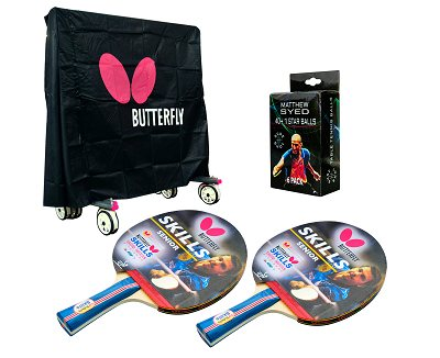 Butterfly Outdoor Table Tennis Accessory Pack - Cover, 2 Skill Bats & Balls