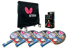 Butterfly Outdoor Table Tennis Accessory Pack - Cover, 4 Skill Bats & Balls
