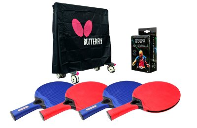 Butterfly Outdoor Table Tennis Accessory Pack - Cover, 4 Weatherproof Bats (random colour) & Balls