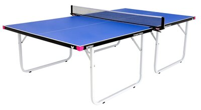 Butterfly Compact Outdoor 10 Wheelaway Table Tennis Table - Blue