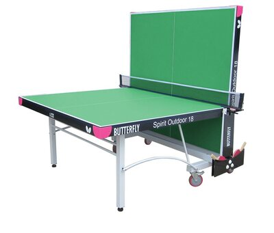 Butterfly Spirit 18 Outdoor Rollaway Table Tennis Table - Green